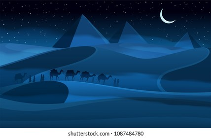 Vecor camel caravan in the night desert.