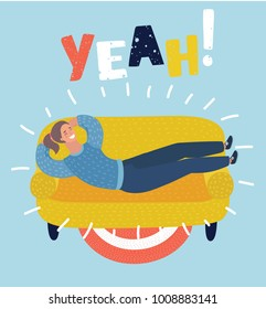 Vecor cartoon illustration of young woman sleeping on the sofa. relaxing person cartoon vector illustration. Yeah! lettering