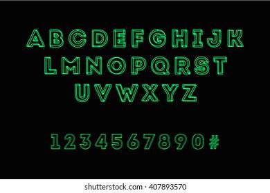 Vecor glowing font, futuristic design. Modern green design