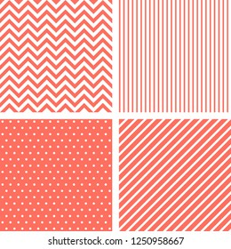 Vecor seamless patterns in living coral color of the year 2019. Striped, chevron, polka dots backgrounds