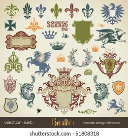 vecor set: heraldry - bits and pieces for your heraldic design projects