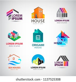 Vecor set of house, building logos, icons. Real estate identity