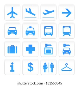 Vecor White and Blue Airport Icons set
