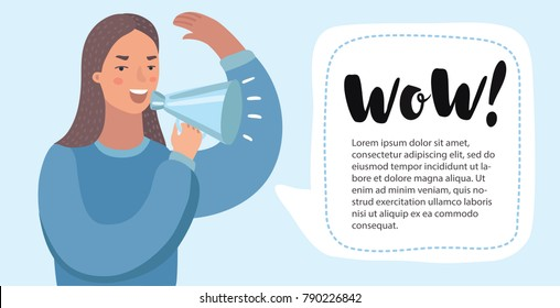 Vecot cartoon funny illustration of woman with megaphone. Woman make announcement with loudspeaker. Horisontal banner for add with bubblespeech.