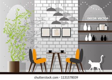 vecter elevation loft style dining room.interior decorate