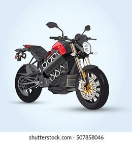 Vecter Illustrator Custom black motorcycle on a Blue background.