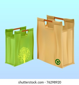 vectoer two jute shopping bags with handles