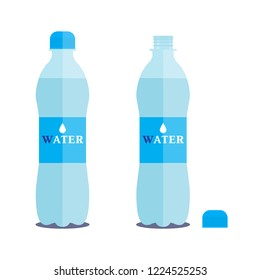 Vector 1 litre bottle of pure water on a white background. Closed and opened