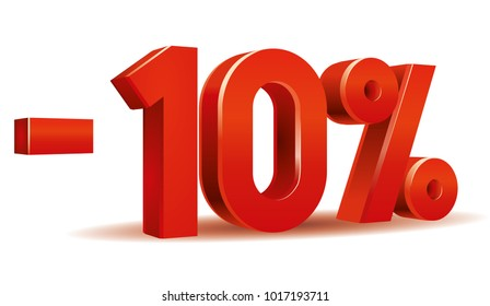 Vector of -10 percent in white background
