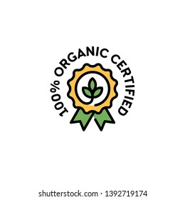 Vector 100 organic certified icon template. Line natural logo badge with green leaves and ribbon. Farm food, vegan label for local farmers market, healthy goods, premium quality products, bio business