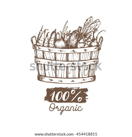 Vector 100% organic vegetables logo. Farm healthy food illustration. Hand sketched basket with greens. Vintage rural harvest poster. Eco products design.