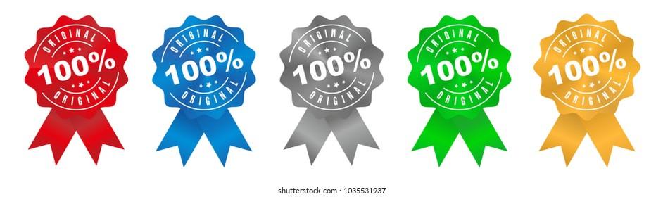 Vector 100% Original Badge Ribbon