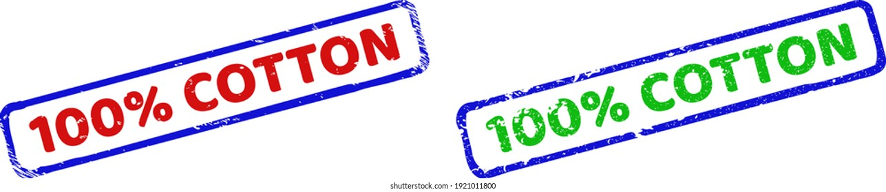 Vector 100 percents COTTON framed watermarks with unclean style. Rough bicolor rectangle seal stamps. Red, blue, green colors used.