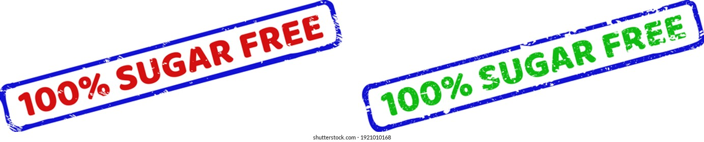Vector 100 percents SUGAR FREE framed watermarks with distress style. Rough bicolor rectangle seal stamps. Red, blue, green colors used.