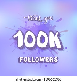 Vector 100k followers thank you social media template. Banner for internet networks. 100000 subscribers congratulation post.