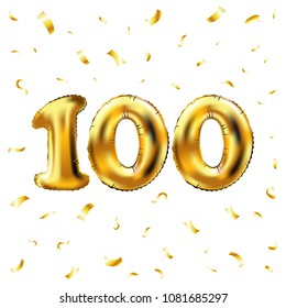 vector 100th celebration gold balloons and golden confetti glitters. 3d Illustration design for your greeting card, invitation and Celebration party of hundred 100 number white background art