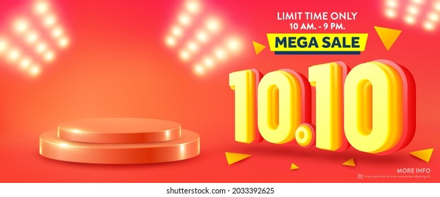 Vector of 10.10 Shopping day Poster or banner with product podium scene and spotlight background.10 October sales banner template design for social media and website.