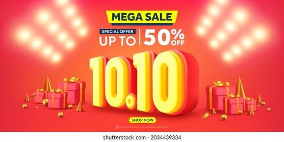 Vector of 10.10 Shopping day Poster or banner with gift box and spotlight background.10 October sales banner template design for social media and website.