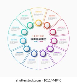 Vector 11 parts infographic design, circle chart, presentation template on white background. Global swatches.