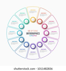 Vector 12 parts infographic design, circle chart, presentation template on white background. Global swatches.
