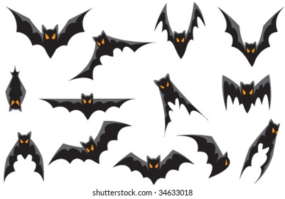 Vector - 13 Bats. Each design can easily be used and manipulated individually.