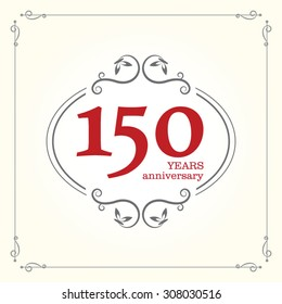 Vector 150th anniversary sign, vintage design