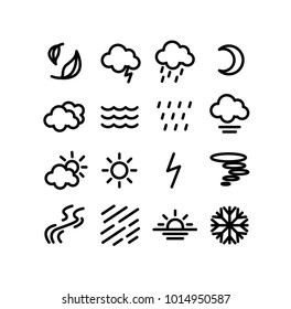 Vector of 16 weather icon set