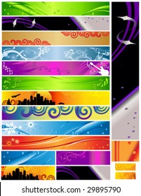 Vector 18 Banners multi themes and colors 468x60 120x600 88x31. Colorful decorative designs include city, curves, foliage, guitar, music and more.