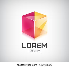 vector 2 sides cube icon, logo isolated