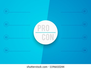 vector 2 step pros cons list stock vector royalty free 1196610244