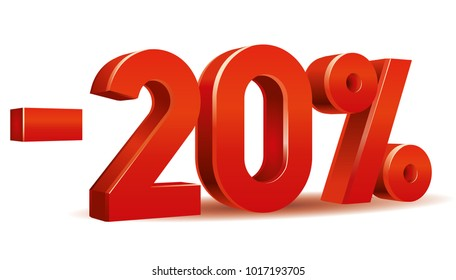 Vector of -20 percent in white background