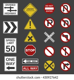 """Vector 20 road signs collection. """"Stop"""", """"No parking"""", """"One Way"""",""""All way"""", """"Speed limit"""", """"Do not enter"""", """"Not Allowed"""", """"Divided Highway"""", """"Railroad Crossing"""" and other signs for your projects."""