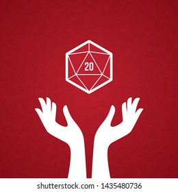 Vector 20 sided game dice multi sides in white hands. On red background with leaves texture.