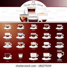 Vector 20 types of coffee