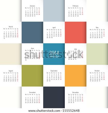 Vector 2014 Calendar Template Stock Vector Royalty Free 155552648