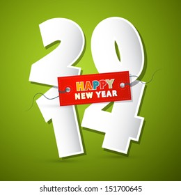 Vector 2014 Happy New Year Theme - Numbers Made Form Paper on Green Background