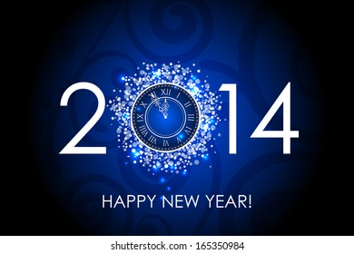 Vector 2014 Happy New Year blue background with clock