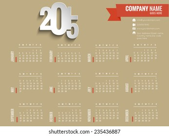 Vector 2015 New year calender. can be use for print.