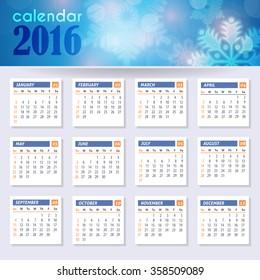 Vector 2016 Full Calendar Template, Week Starts Monday