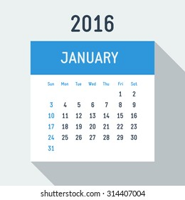 Vector 2016 year flat style calendar on light background American calendar grid weeks starts on Sunday January
