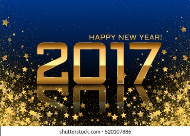 Vector 2017 background with gold stars on blue background