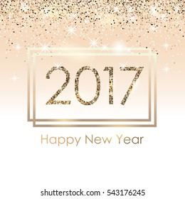 Vector 2017 background with golden sparkling glitter