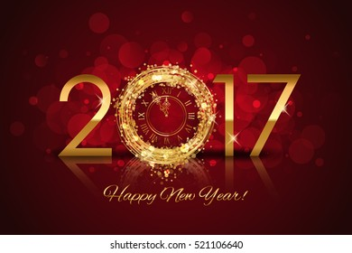 Vector 2017 Happy New Year background with gold clock on red background