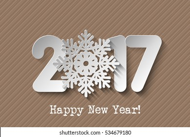 Vector 2017 Happy New Year card with  numbers from paper