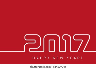 Vector 2017 Happy New Year modern red and white background