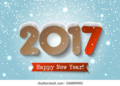 Vector 2017 Happy New Year background with cardstock numbers