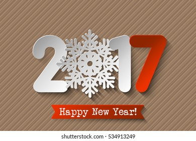 Vector 2017 Happy New Year retro card with white and red numbers