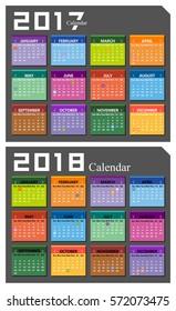Vector 2017,2018 calendar