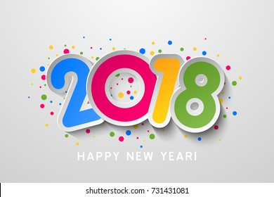 Vector 2018 Happy New Year colorful background with number from paper