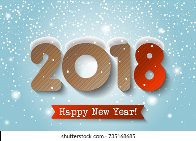 Vector - 2018 Happy New Year background with cardstock numbers